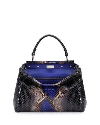 Peekaboo Mini Python Satchel Bag, Black/Cobalt