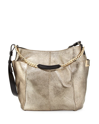 Anna Metallic Shoulder Bag, Silver