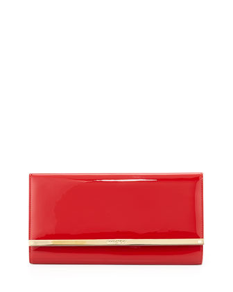 Maia Large Patent Wallet Clutch Bag, Red