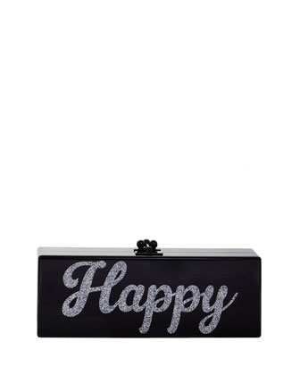 Flavia Acrylic Happy Clutch Bag, Black/Silver