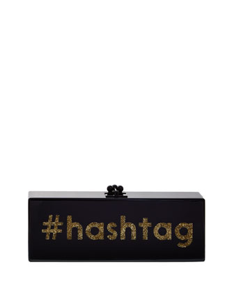 Flavia Acrylic #Hashtag Clutch Bag, Black/Gold