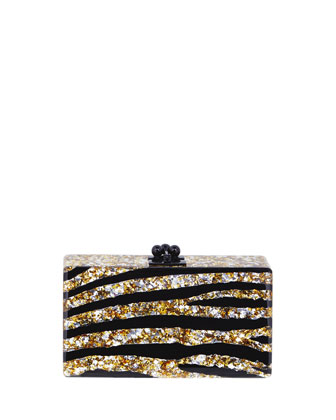 Jean Acrylic Zebra Clutch Bag, Gold/Silver/Black