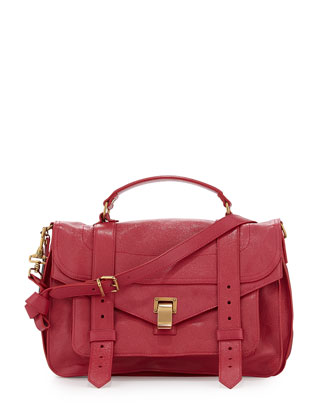 PS1 Medium Satchel Bag, Raspberry