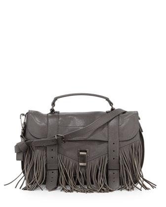 PS1 Medium Fringe Satchel Bag, Gray