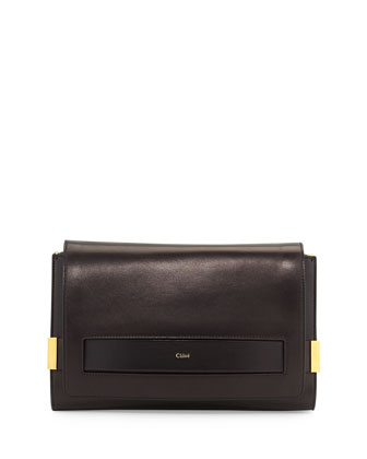 Elle Large Clutch Bag with Chain Strap, Black