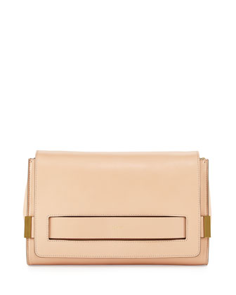 Elle Large Clutch Bag with Chain Strap, Nude
