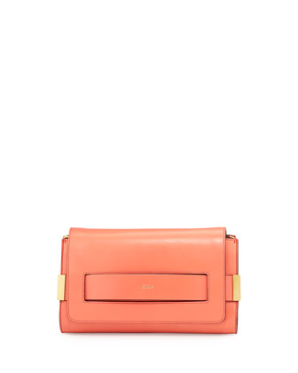Elle Clutch Bag with Shoulder Strap, Coral
