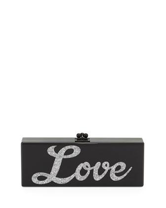 Flavia Acrylic Love Clutch Bag, Black/Silver