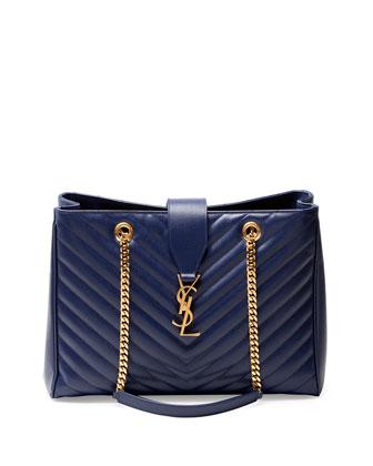 Monogramme Matelasse Shopper Bag, Navy