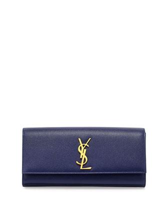 Monogramme Calfskin Clutch Bag, Cobalt Blue