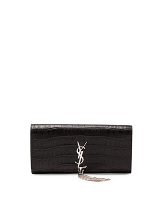 Monogramme Croc-Stamped Clutch Bag, Black
