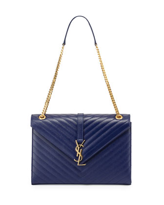Monogramme Matelasse Shoulder Bag, Navy