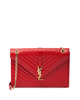 Monogramme Matelasse Shoulder Bag, Red