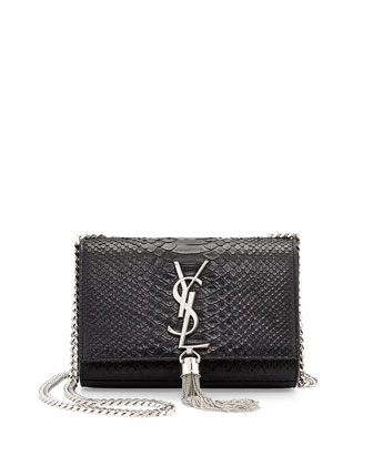 Monogramme Small Python-Stamped Crossbody Bag, Black