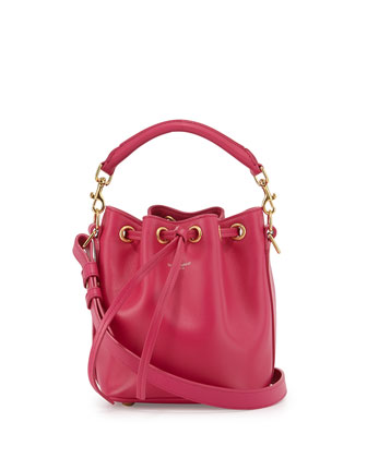 Small Bucket Crossbody Bag, Fuchsia