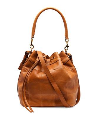 Medium Patchwork Bucket Bag, Light Cognac
