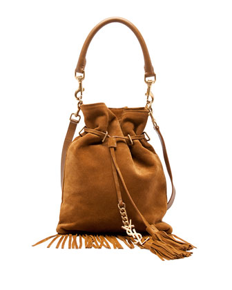 Monogramme Small Suede Fringe Bucket Bag, Camel