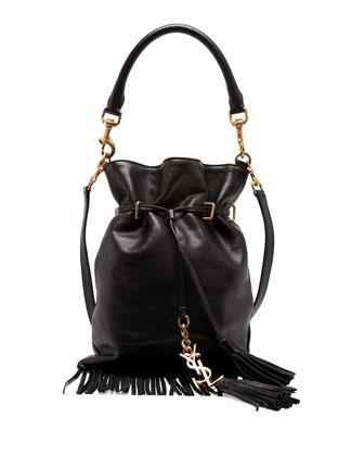 Monogramme Small Fringe Bucket Bag, Black