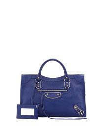 Classic Chevre Grainee City Bag, Blue