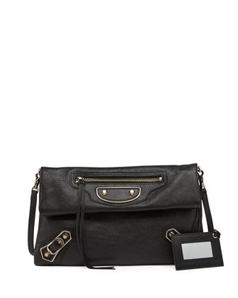 Metallic Edge Classic Envelope Clutch Bag, Black