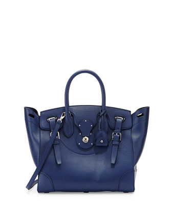 Soft Ricky 33 Medium Calfskin Satchel Bag, Navy