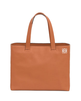 East-West Large Shopper Tote Bag, Tan