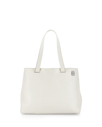 East-West Small Shopper Tote Bag, White