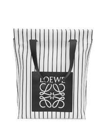 Striped North-South Shopper Bag, Black/White