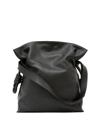 Flamenco Knot Bucket Bag, Black