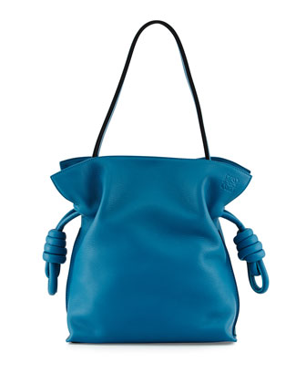 Flamenco Small Knot Bucket Bag, Light Blue