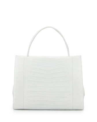 Wallis Crocodile Satchel Bag, White Shiny