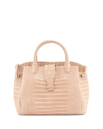 New Cristina Large Crocodile Tote Bag, Neutral Matte