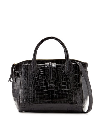 New Cristina Large Crocodile Tote Bag, Black Matte