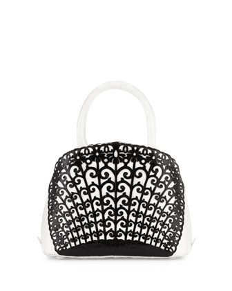 Small Crocodile Overlay Satchel Bag, White/Black