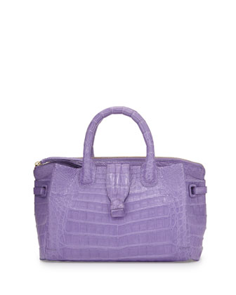 New Cristina Small Crocodile Tote Bag, Lilac Matte