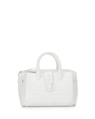 New Cristina Crocodile Satchel, White