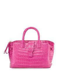 Cristina Small Crocodile Tote Bag, Pink Matte