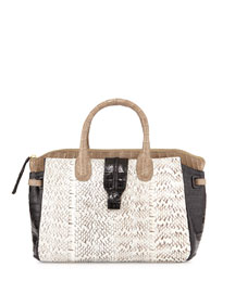 New Cristina Crocodile and Whipsnake Tote Bag, Sand/Black