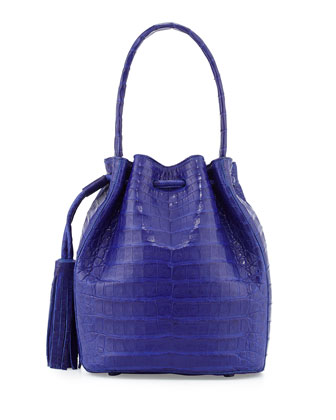 Crocodile Tassel Shoulder Bag, Cobalt Blue