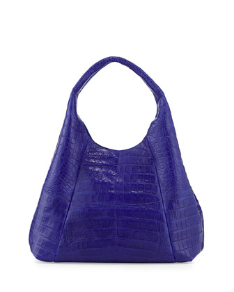 Crocodile Large Hobo Bag, Cobalt Blue