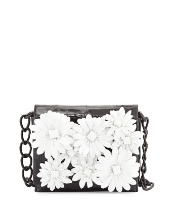 Small Crocodile Flower Chain Bag, Black/White