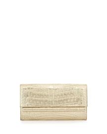 Metallic Crocodile Clutch Bag, Gold Matte