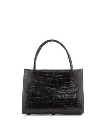 Wallis Small Crocodile Satchel Bag, Black