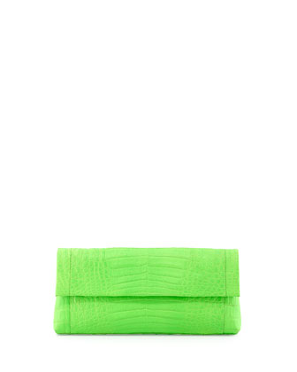 Crocodile Flap-Top Clutch Bag, Neon Green