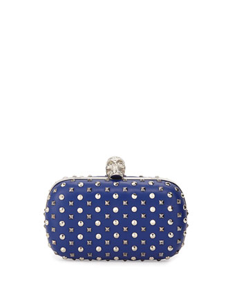 Studded Crystal-Skull Clutch Bag, Blue
