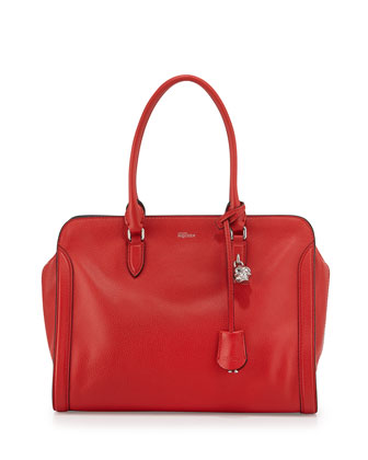 Skull Padlock Leather Zip-Around Satchel Bag, Red