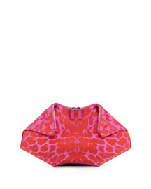 Leopard-Print De-Manta Clutch Bag, Pink/Red