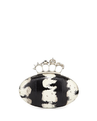 Snakeskin Oval Knuckle Clutch Bag, Black/White