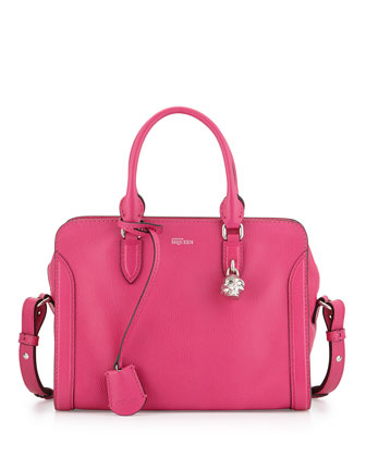 Small Skull Padlock Leather Satchel Bag, Pink
