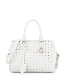 Small Studded Padlock Tote Bag, White